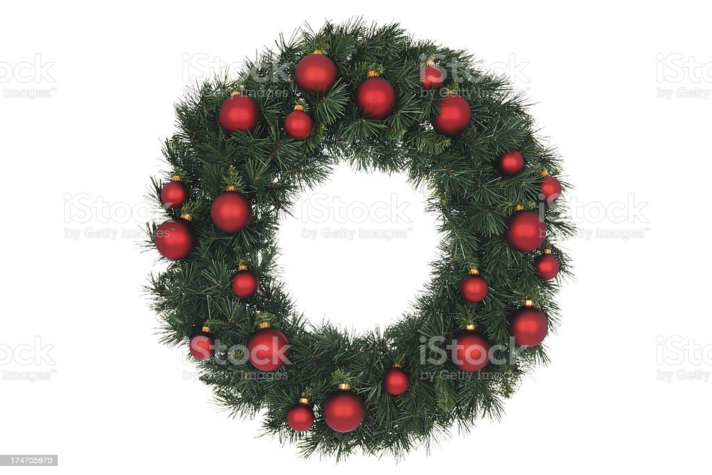 Red Bauble Wreath stock photo