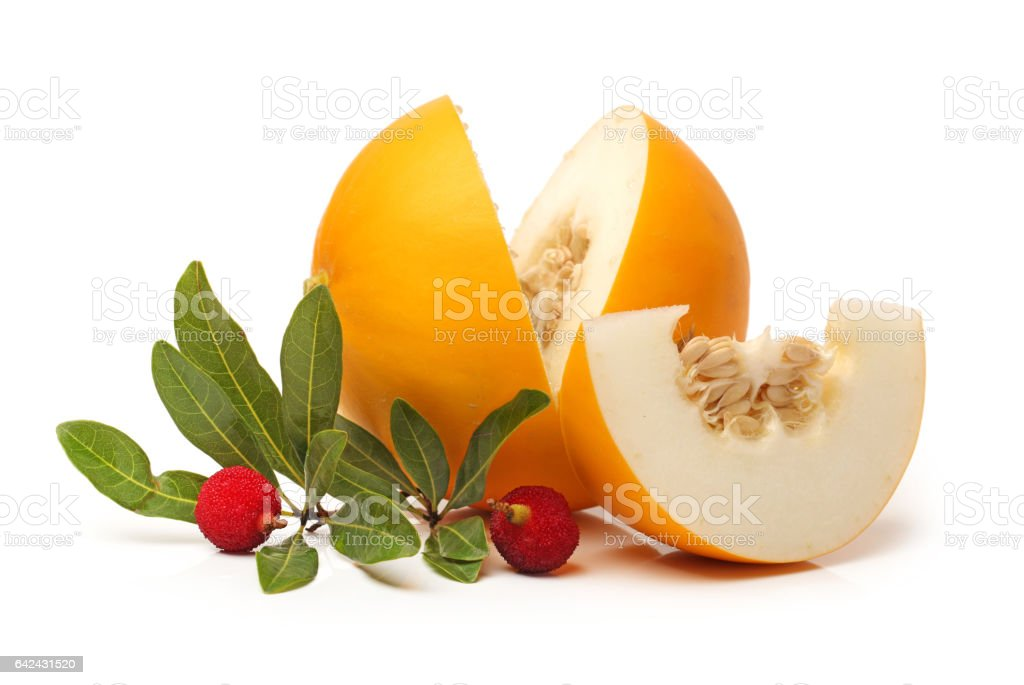 Red bayberry and Honeydew melon  on white background stock photo