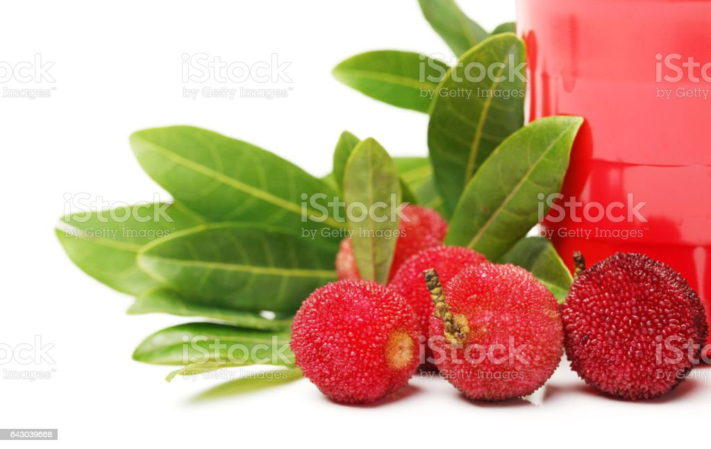 Red bayberry, Arbutus  isolated on white background. With clipping path stock photo