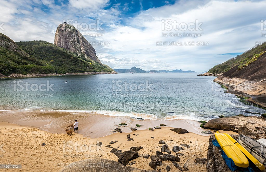 Red Beach in Rio de Janeiro, where the Sugar Loaf stock photo
