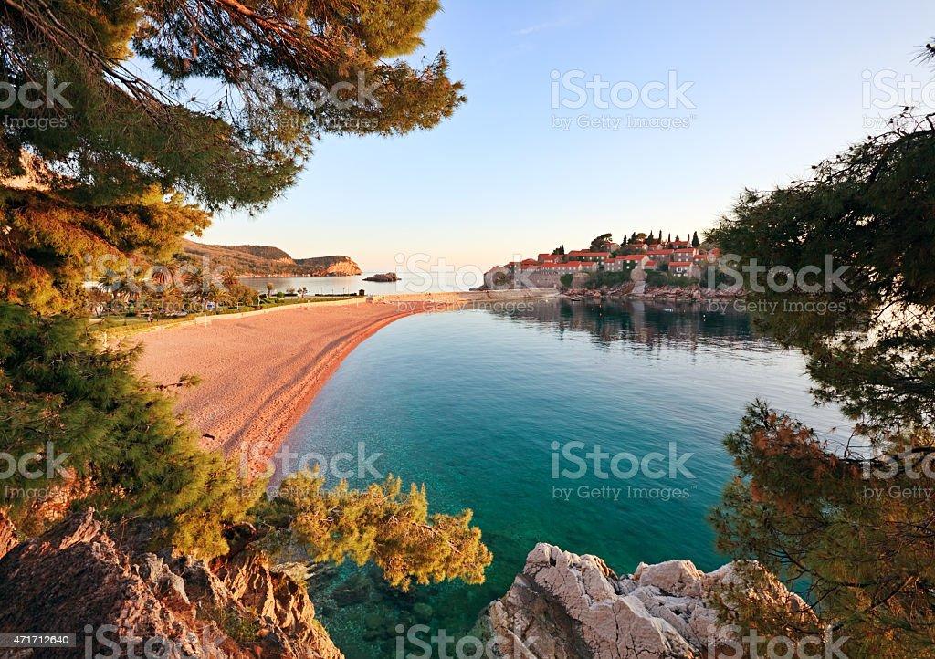 Red Beach in Sveti Stefan, Montenegro stock photo