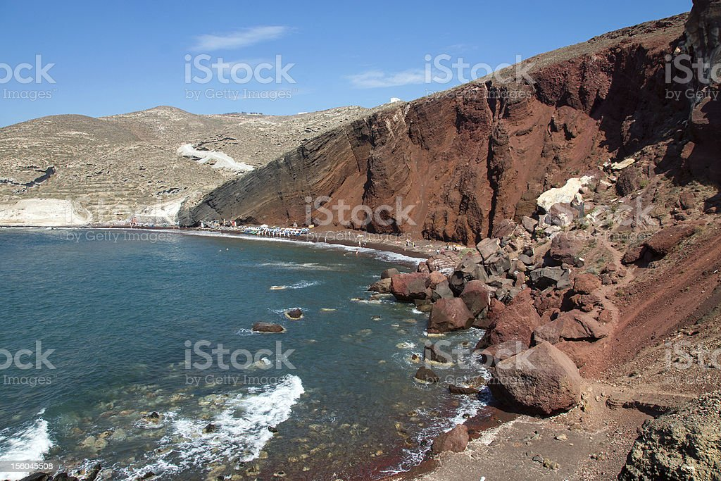 Red beach on Santorini island royalty-free stock photo