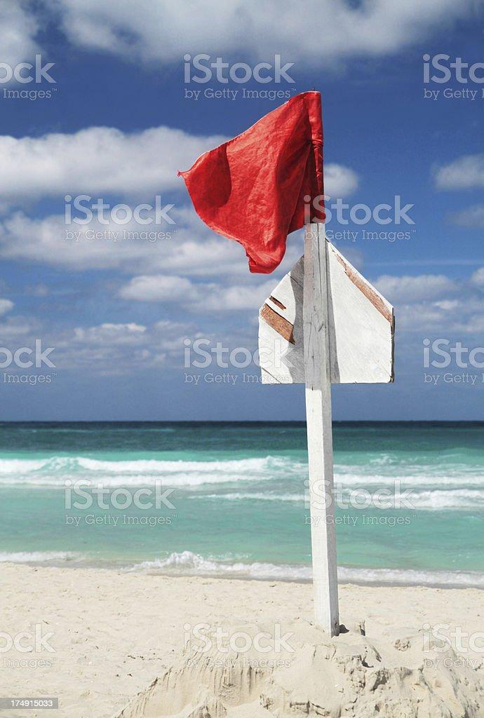 Red Beach Warning Flag royalty-free stock photo