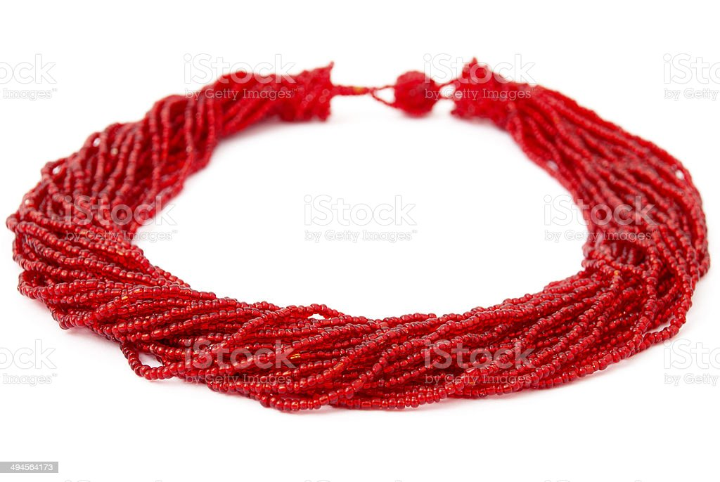 Red Beaded Handmade Necklace stock photo