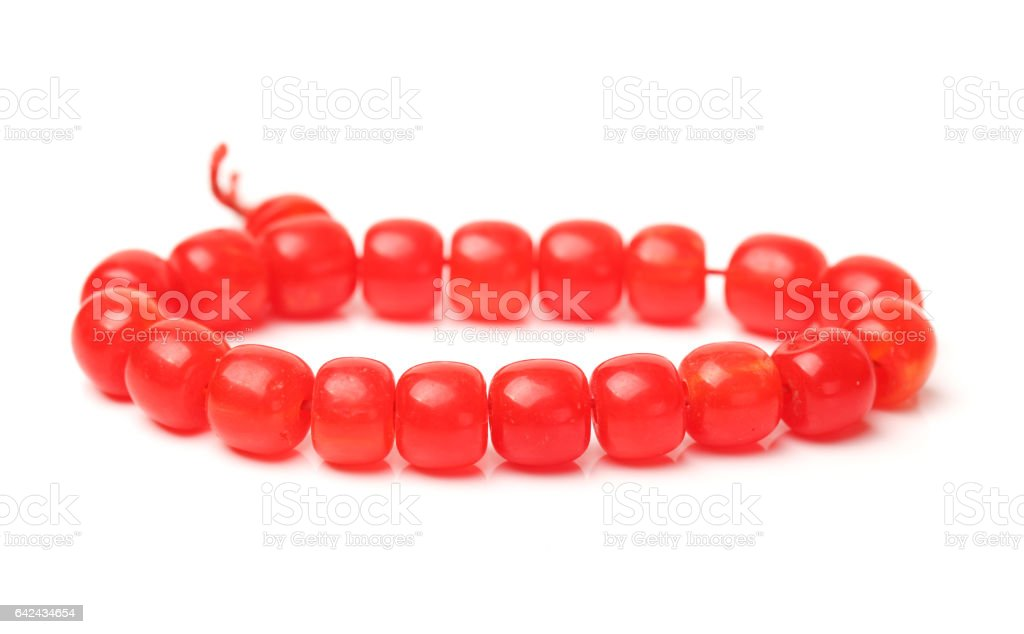 red  beads  jade,Jade Bracelet  isolated on a white background stock photo
