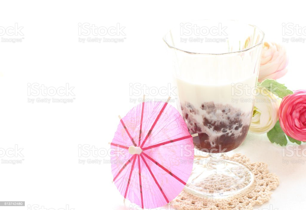 red bean paste and milk stock photo