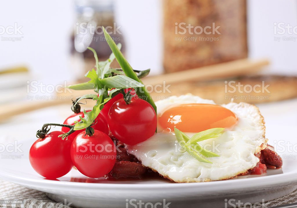 Red bean salad and fried egg stock photo