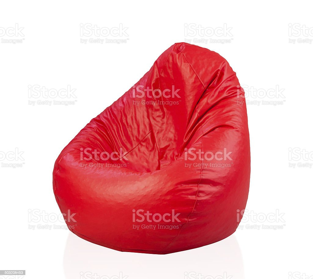 Red beanbag isolated stock photo