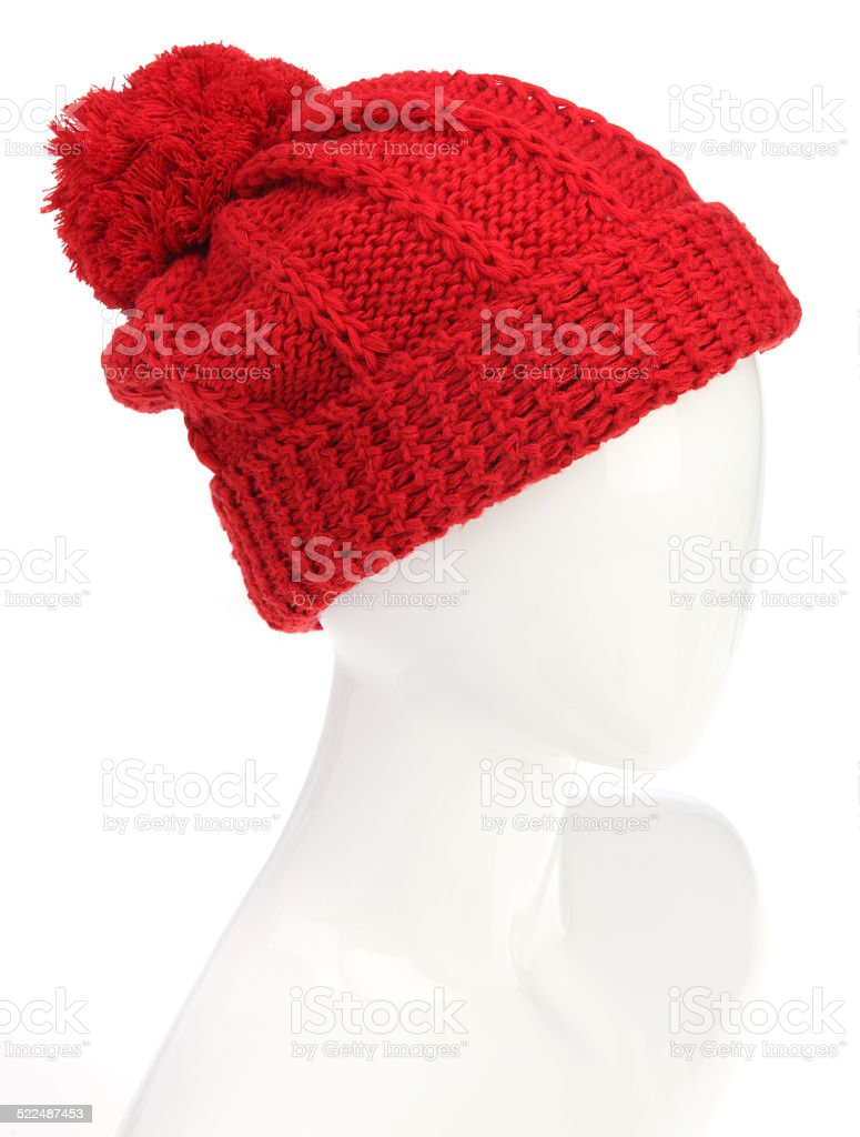 Red Beanie with Pom Pom stock photo