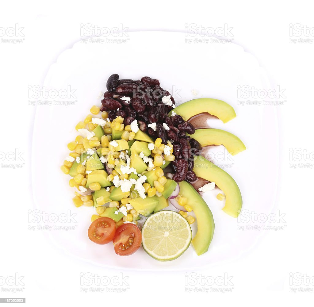 Red beans salad with avocado. royalty-free stock photo