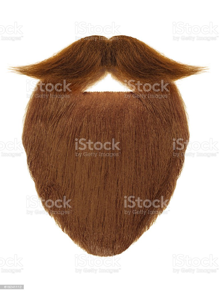 Red beard with curly mustache isolated on white stock photo