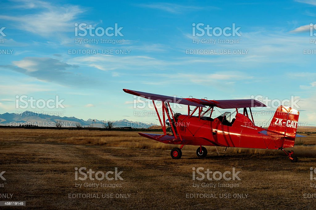 Red beauty at Pukaki Airfield stock photo