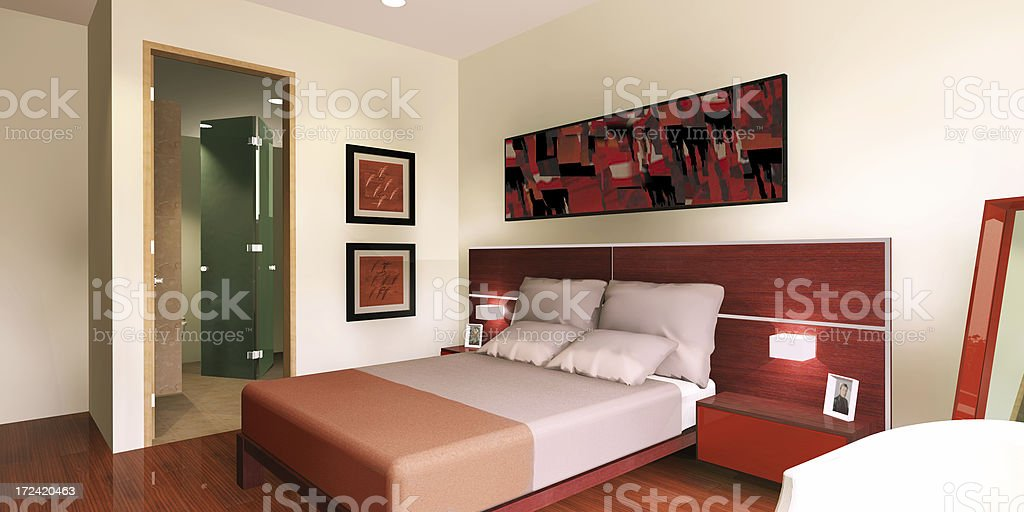 Red bedroom 3D royalty-free stock photo