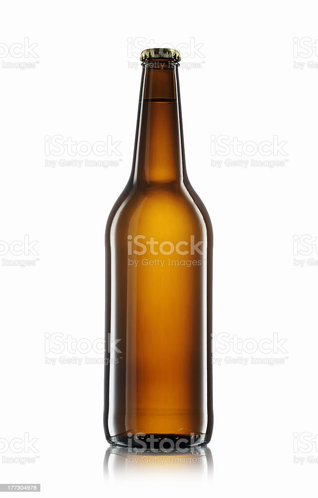 Red beer bottle stock photo