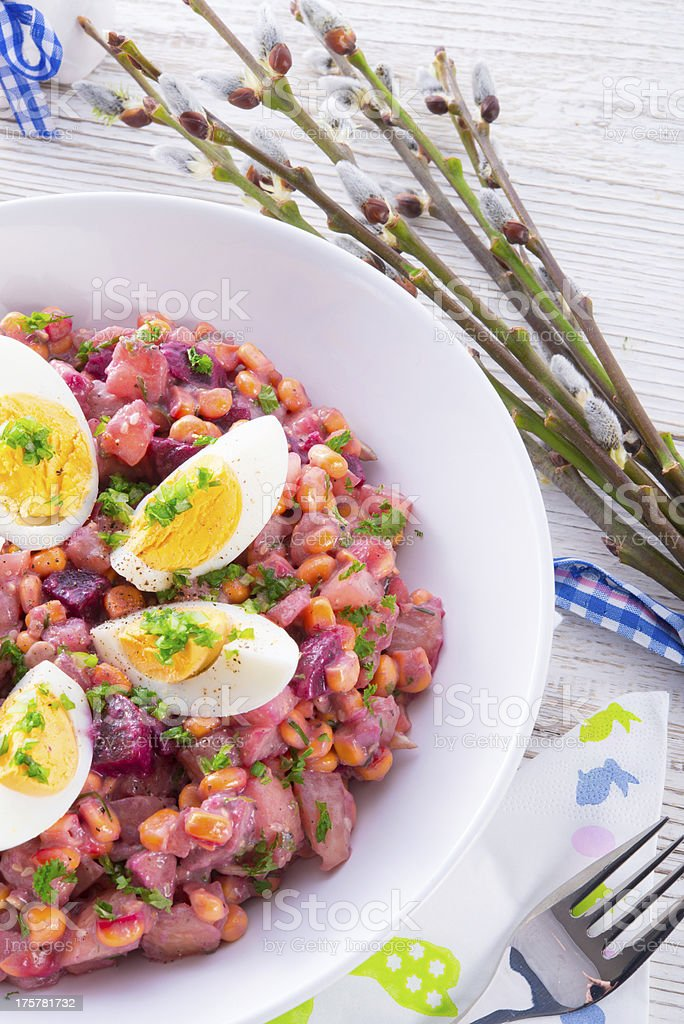 Red beet salad with egg royalty-free stock photo