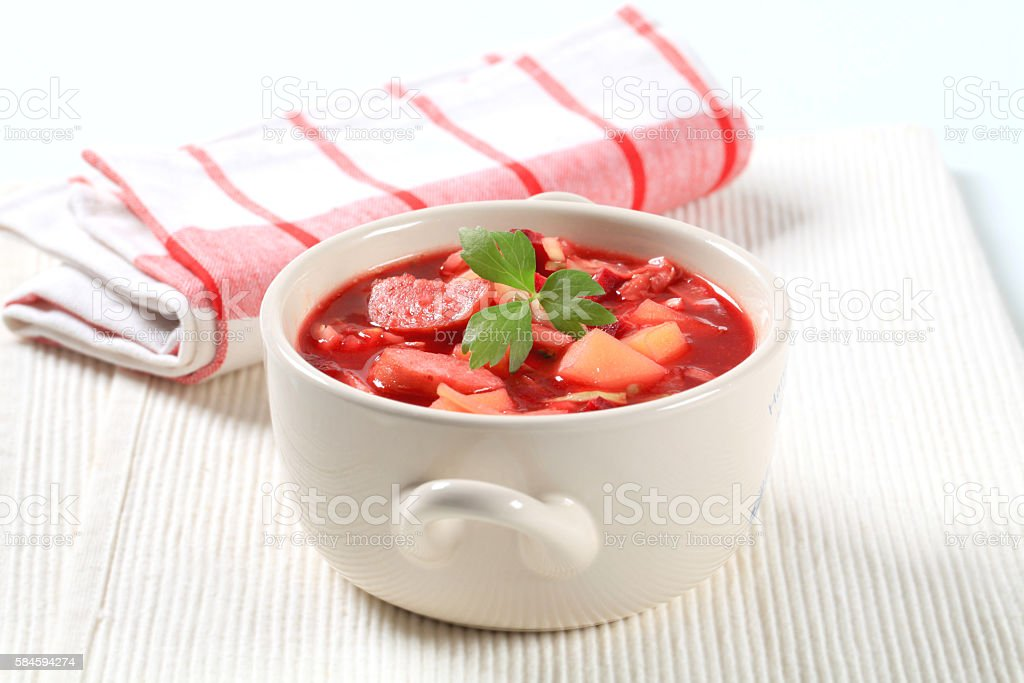 red beetroot soup (borsch) stock photo