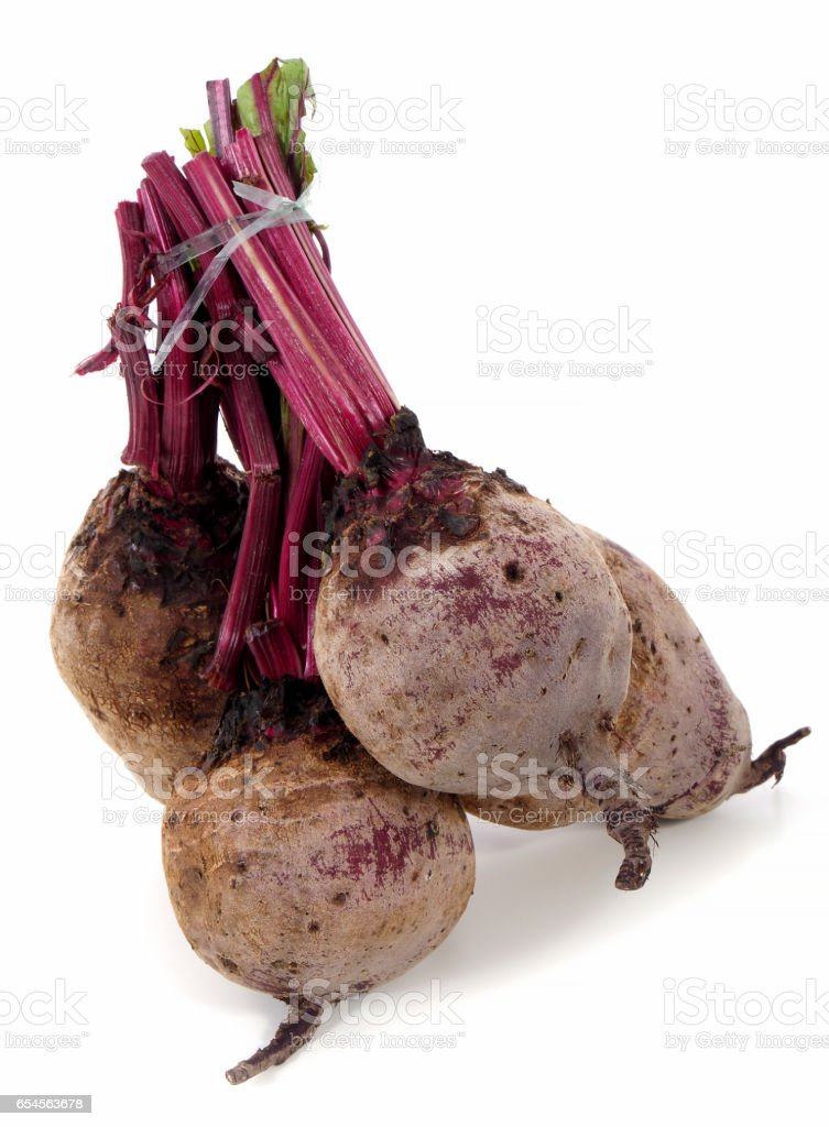 Red beets on white stock photo