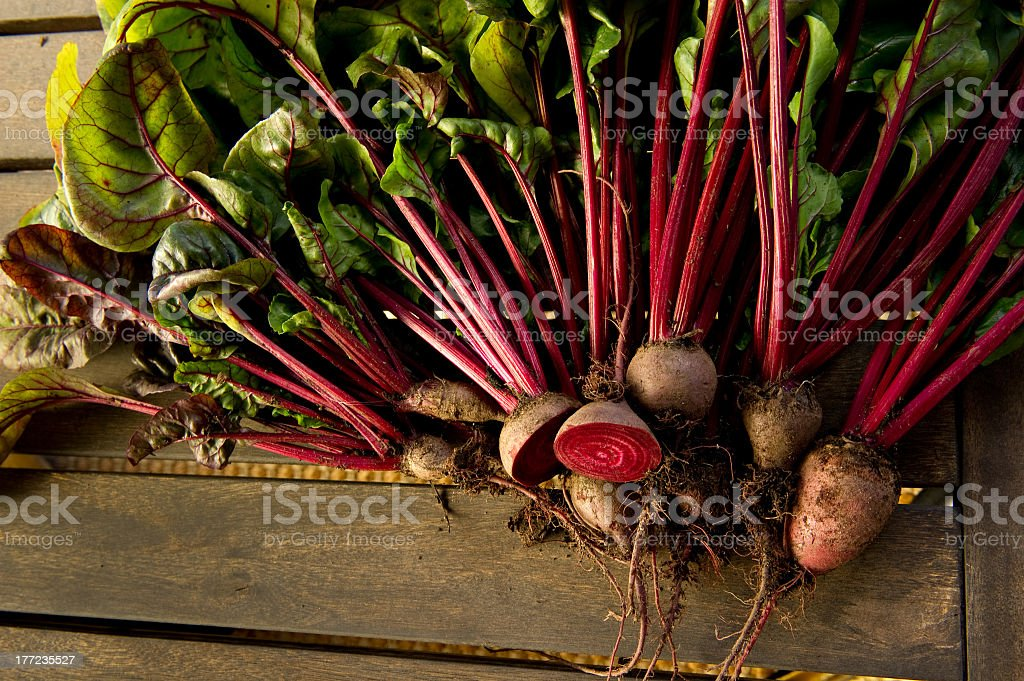 Red Beets on wood table royalty-free stock photo