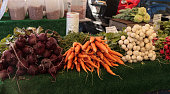 Red beets, orange carrots, and radishes
