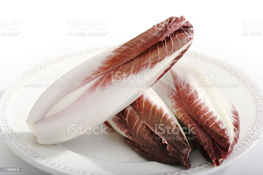 Red Belgium Endives on Plate royalty-free stock photo