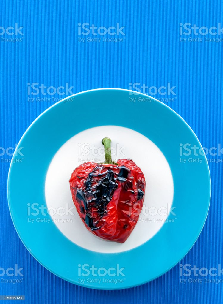 red bell pepper, roasted, high angle view stock photo