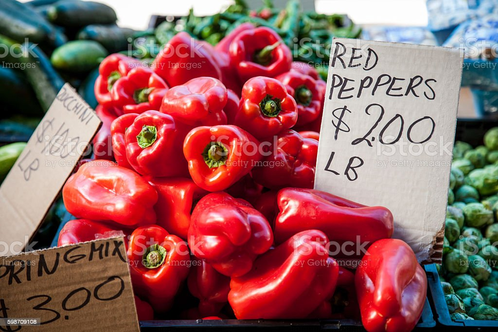 Red Bell Peppers for Sale stock photo