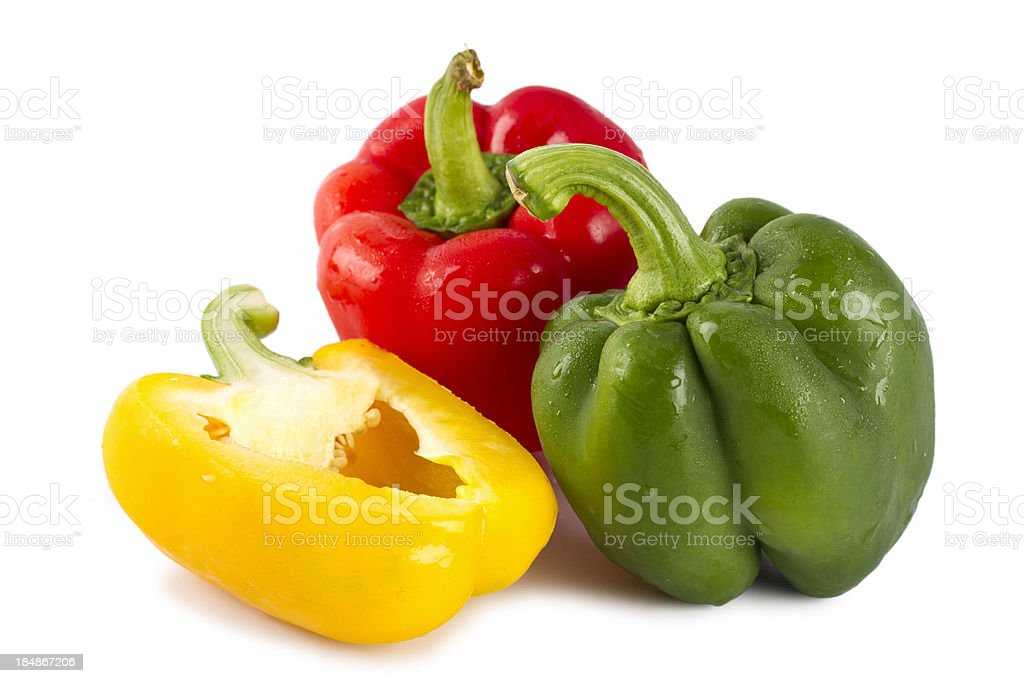 Red bell peppers isolated on white with clipping path stock photo