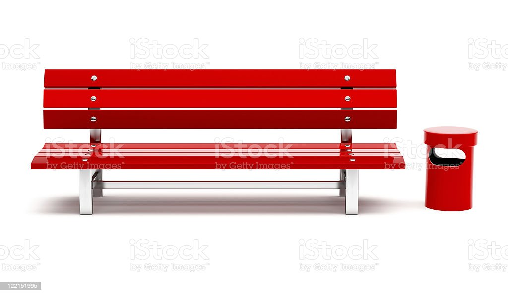 Red bench and bin stock photo