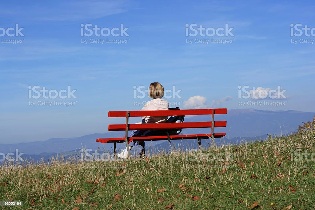 Red Bench royalty-free stock photo