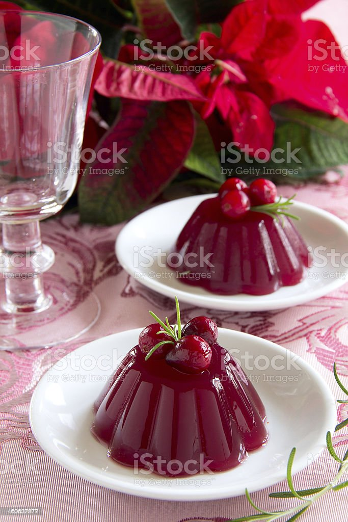 red berries jelly.  selective focus stock photo