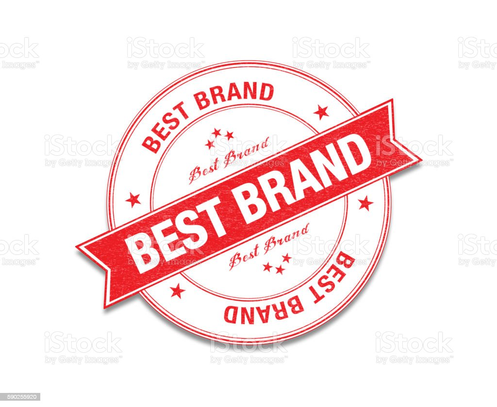 Red 'Best Brand' Stamp On White stock photo