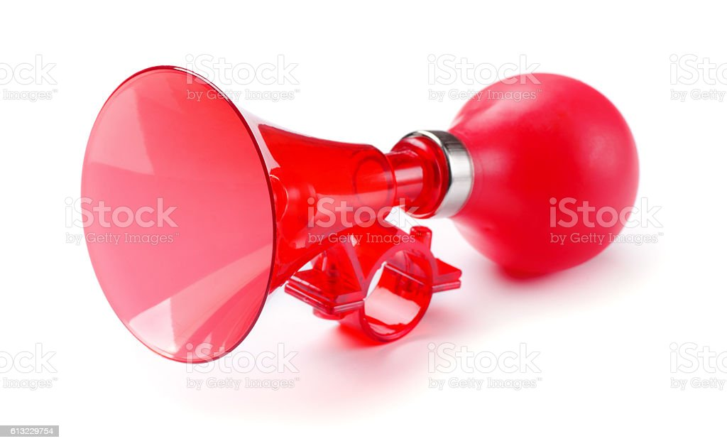 Red bicycle air horn stock photo