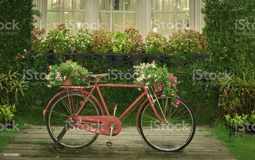 red bicycle with white window and garden background stock photo