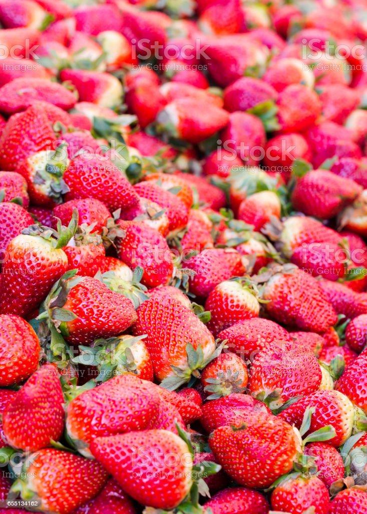 Red big strawberries background stock photo