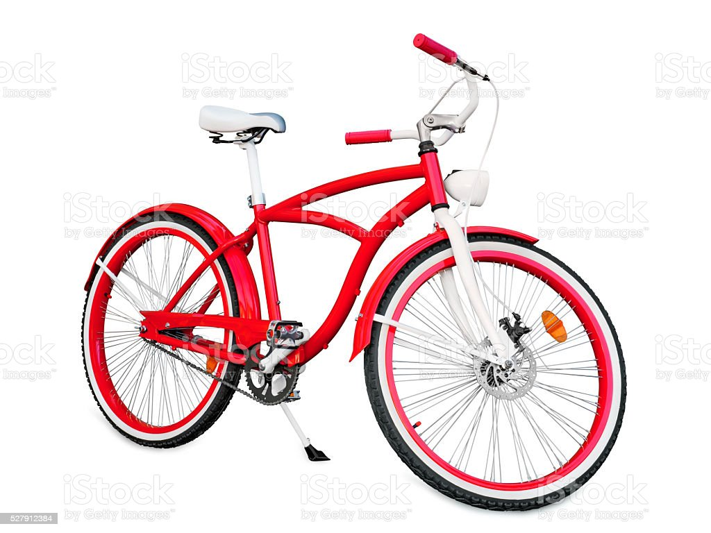 Red bike isolated on white stock photo