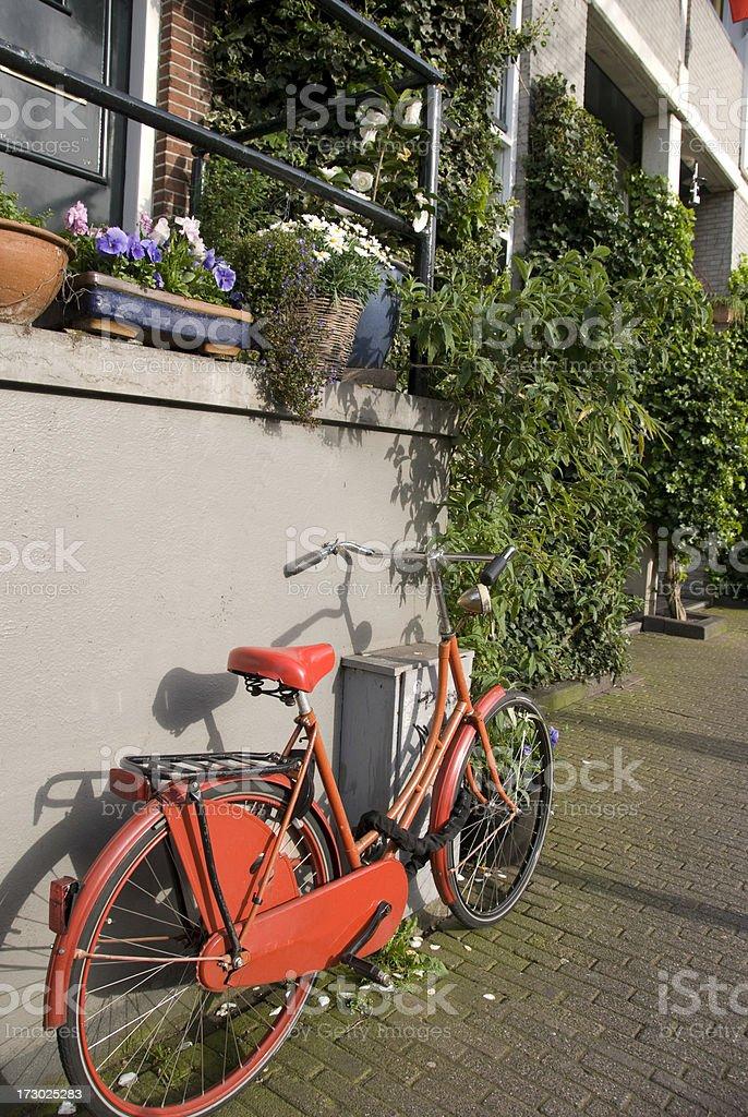 Red Bike on Amsterdam Street royalty-free stock photo