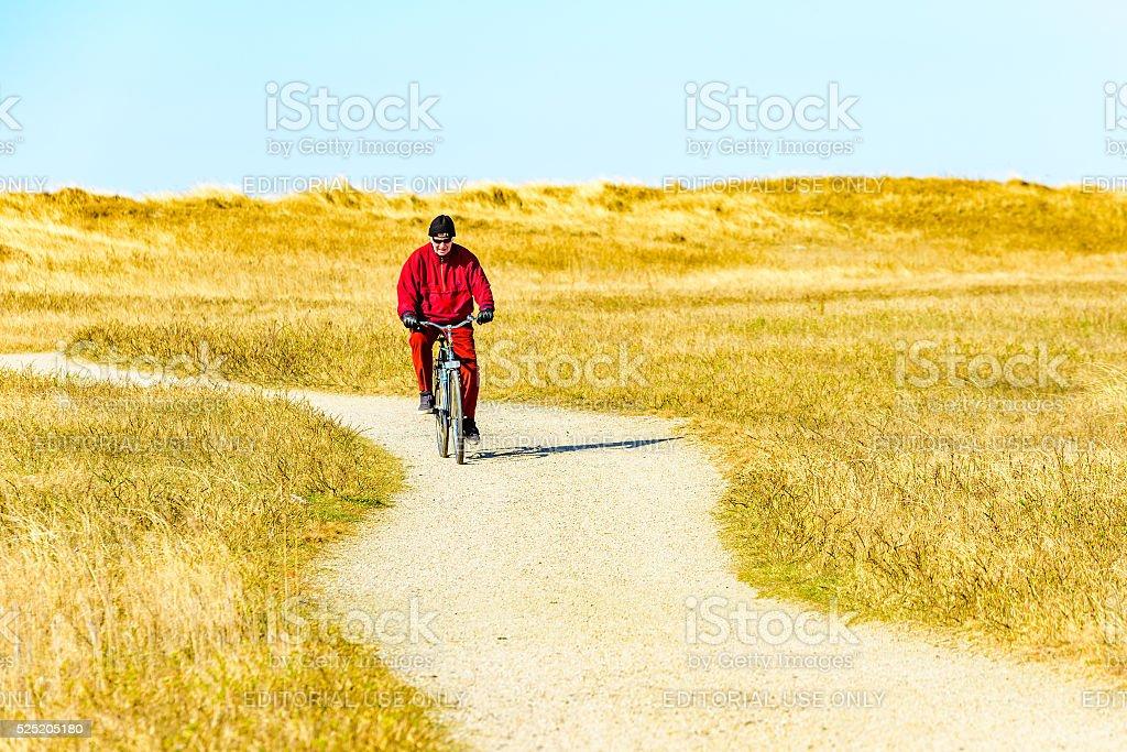 Red biker stock photo