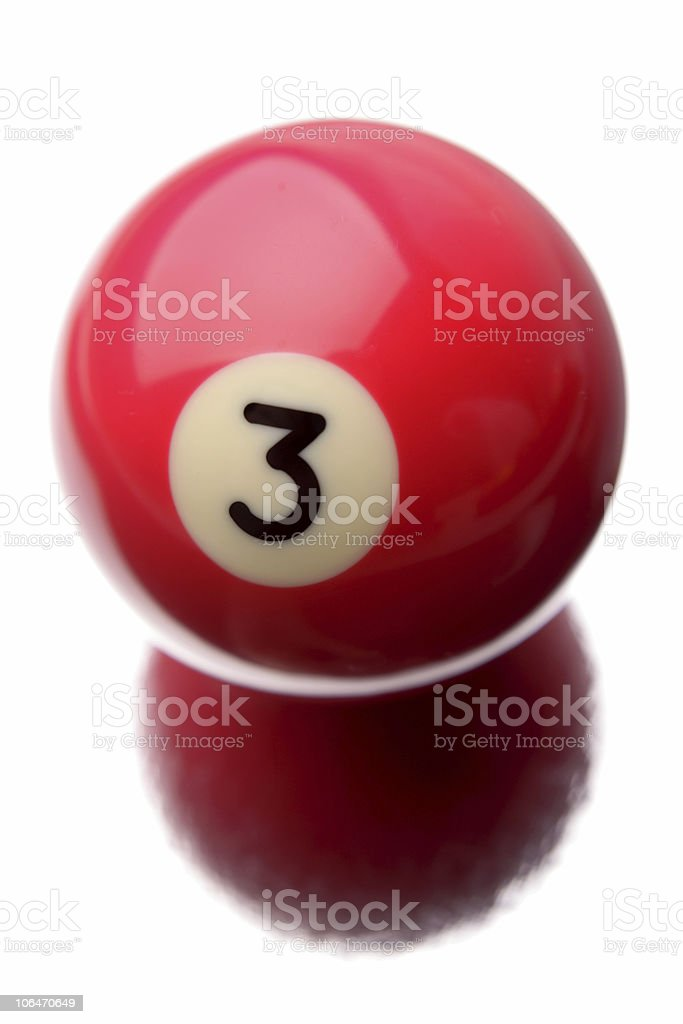 A red billiard ball with number 3 on it stock photo