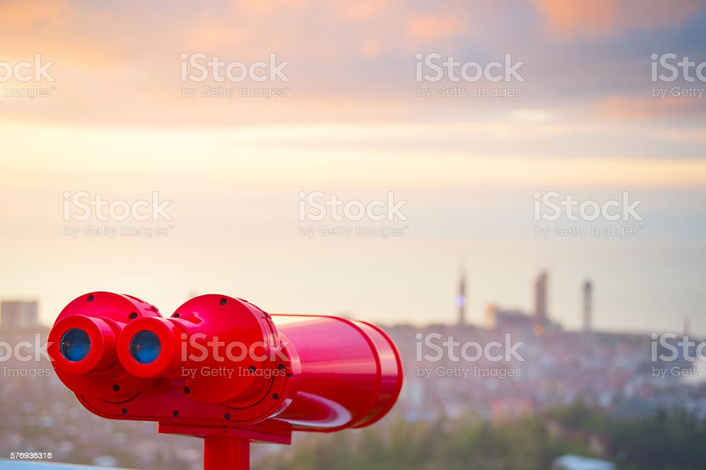 Red binocular stock photo