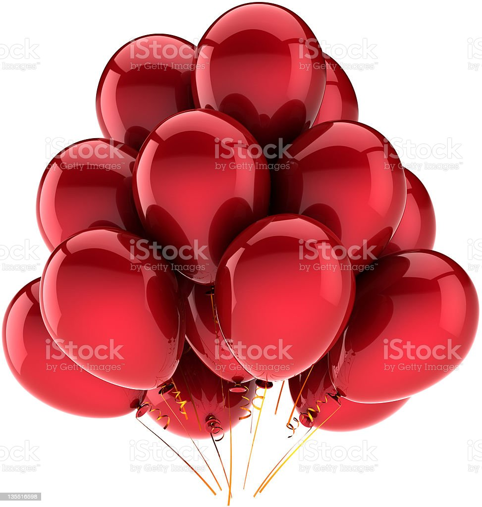 Red birthday balloons party decoration classic stock photo
