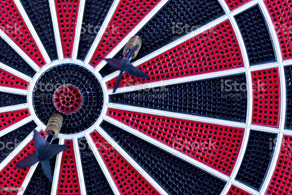 red, black and white dartboard stock photo
