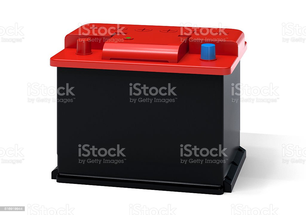 Red black car battery stock photo