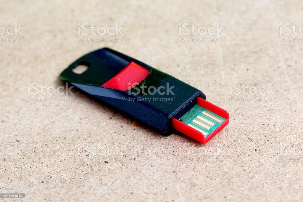 Red black USB memory stick stock photo