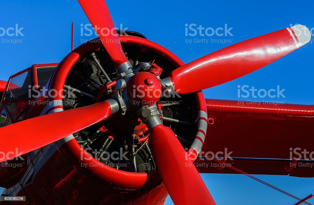 Red blade aircraft stock photo