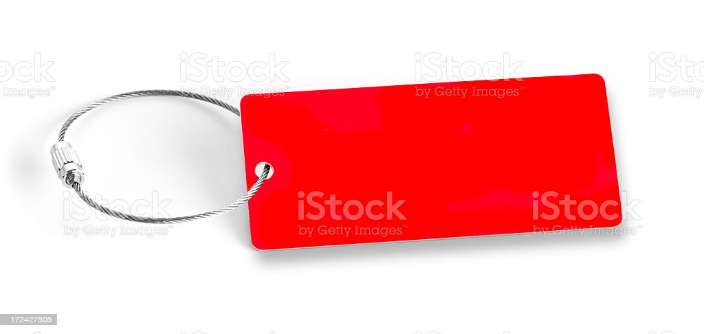 Red blanc tag on white background stock photo