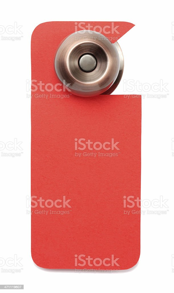 A red blank door sign hanging on the knob stock photo