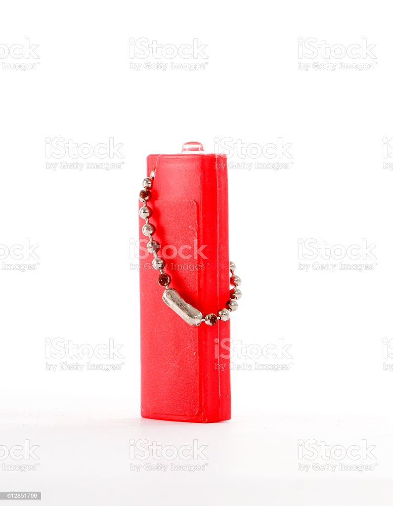 Red blank gas lighter with led diode stock photo