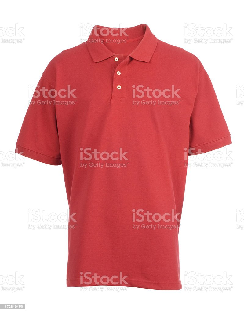 Red, blank, golf shirt front-isolated on white stock photo