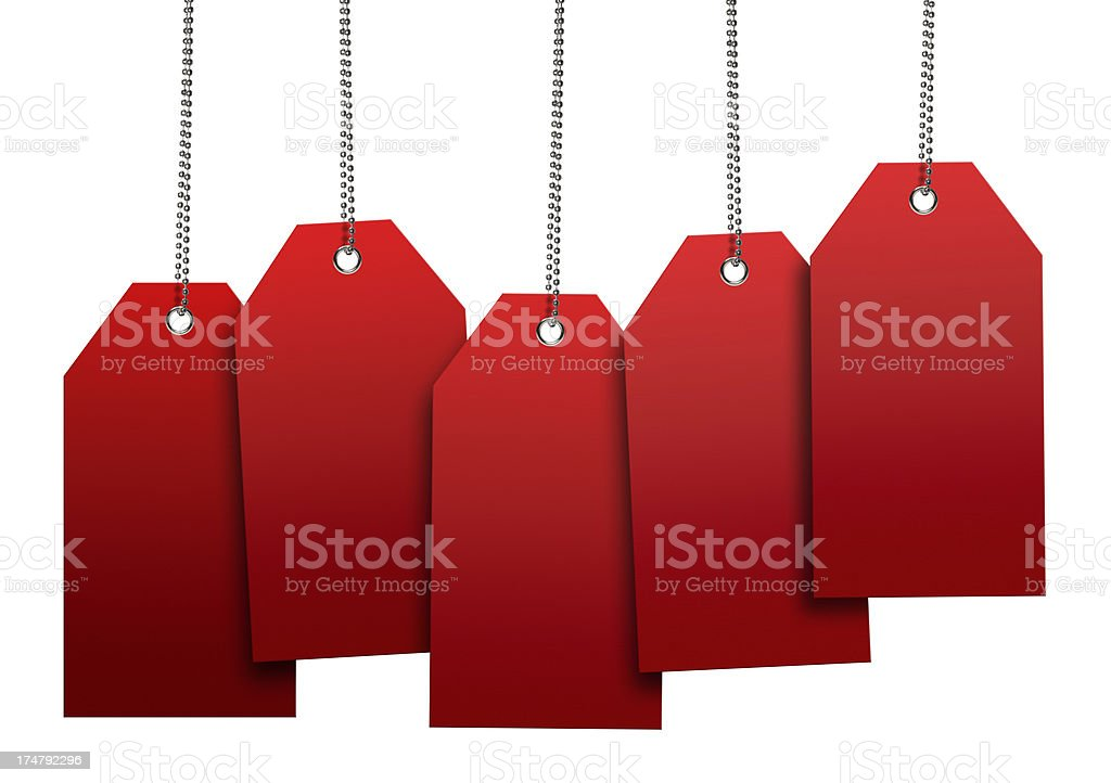 Red Blank Tags (Clipping Path) stock photo