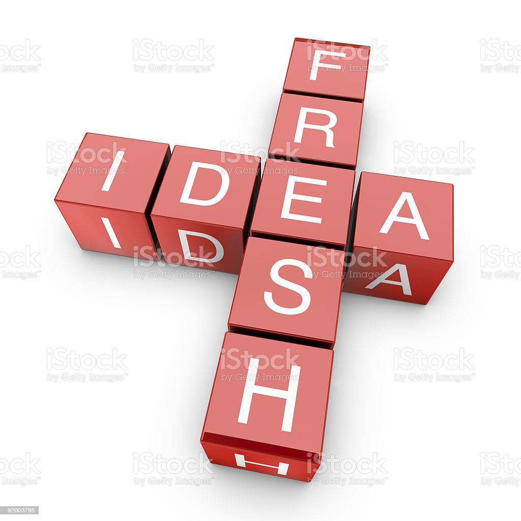 Red blocks spelling out words fresh and idea in white royalty-free stock photo
